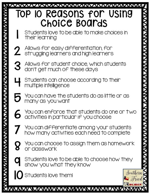Why use choice boards? - Southern Fried Teachin'