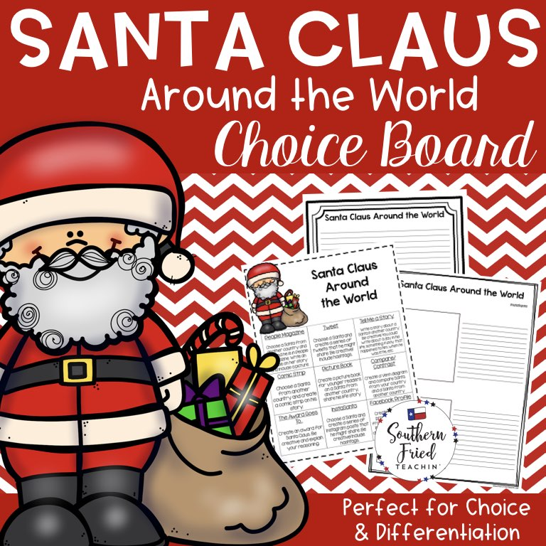 Looking for a fun activity for your students during the holiday season? When your students are antsy and ready to be on winter break? You will LOVE this Santa Claus Around the World choice board! Students can choose from 9 different activities and projects. Choice boards are a fun and simple way to bring differentiation and student choice to your classroom.