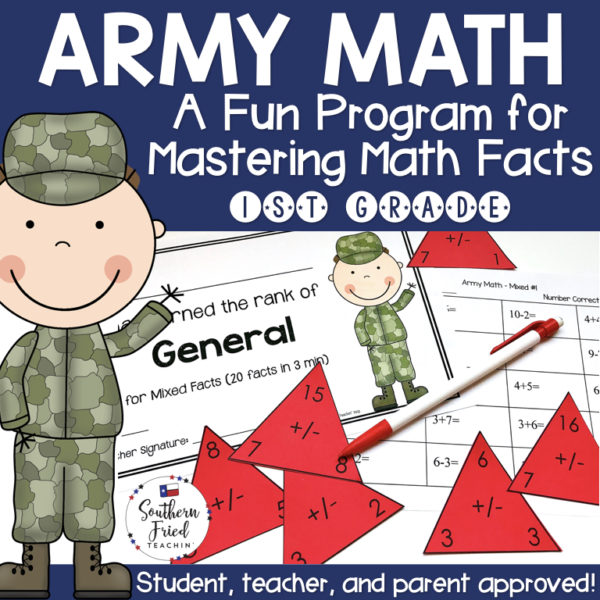 Motivate your students to master their math facts with Army Math! This program will have them increase their math fact fluency and automaticity in addition, subtraction, and mixed addition & subtraction facts. They will LOVE moving up the Army ranks!