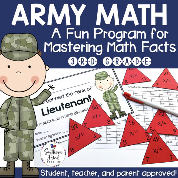 Motivate your students to master their math facts with Army Math! This program will have them increase their math fact fluency and automaticity in addition, subtraction, multiplication, division, and mixed facts. They will LOVE moving up the Army ranks!