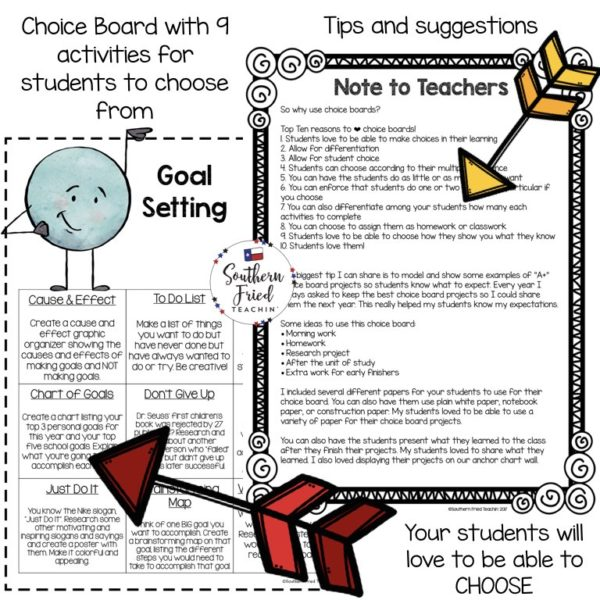 Setting goals can be hard and boring for students. Why not make it fun and engaging and let your students be creative when setting goals? This is a goal setting choice board with 9 different activities and projects; it's a simple and fun way to bring differentiation and student choice to your classroom.