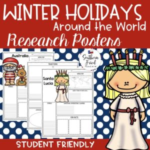 Christmas and Winter Holidays Around the World Research Project Posters are a fun and simple way for your students to research how people around the world celebrate the holidays. These project posters are student friendly and help guide your students in what exactly to research. These posters are perfect for students to display their winter holiday research! And they look fabulous on a bulletin board or hallway display!