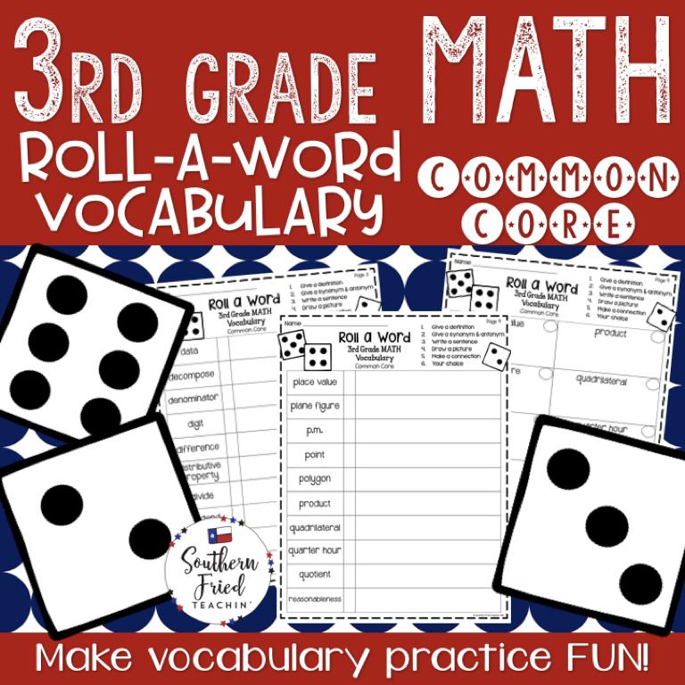 3rd Grade Math Fun Interactive Vocabulary Dice Activity - EDITABLE ...