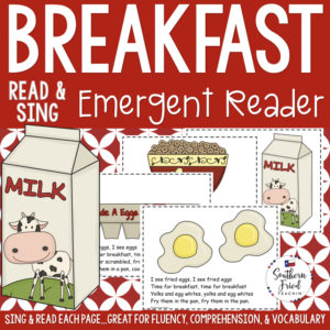 "This Breakfast Early Reader is super unique to other readers...you not only read each page, you sing it to ""Where Is Thumbkin?"". Students love them! Also a FUN way to practice reading, increase fluency through singing and repetition, and improve vocabulary."