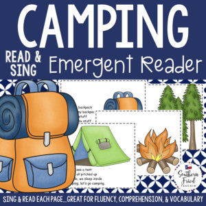 "This Camping Early Reader is super unique to other readers...you not only read each page, you sing it to ""Where Is Thumbkin?"". Students love them! Also a FUN way to practice reading, increase fluency through singing and repetition, and improve vocabulary."