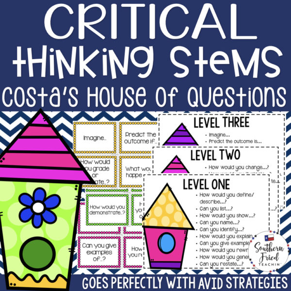 These Costa's House of Questions Critical Thinking Stems are the perfect way to get your students to think more critically. This works great with AVID strategies and works in all content and subject areas since it's the house is a great and simple visual for students.