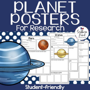 Planets Research Project Posters are a fun and simple way for your students to research the planets. These project posters are student friendly and help guide your students in what exactly to research. These posters are perfect for students to display their planet research! And they look fabulous on a bulletin board or hallway display!