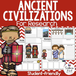 Ancient Civilizations Research Project Posters are a fun and simple way for your students to research the ancient civilizations. These project posters are student friendly and help guide your students in what exactly to research. These posters are perfect for students to display their research! And they look fabulous on a bulletin board or hallway display!