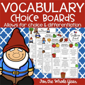 Make learning and practicing vocabulary FUN! These monthly vocabulary choice boards bring student choice, creativity, and differentiation to your classroom, and your students will love it! Since they are using vocabulary words in a meaningful way, they will remember them!