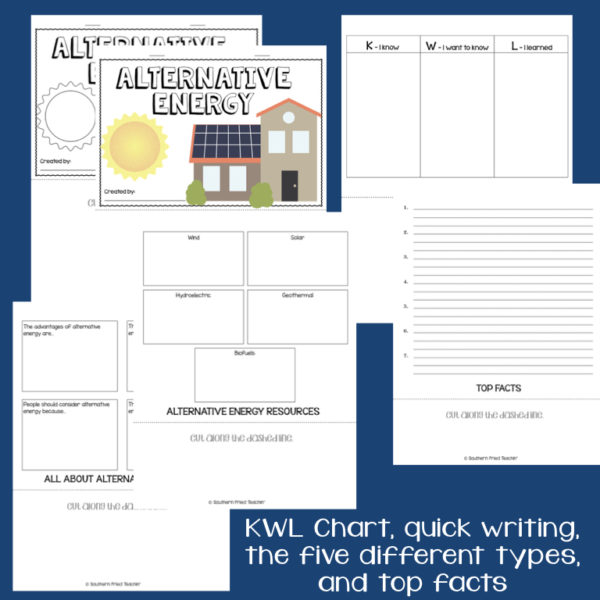 This engaging Alternative Energy Interactive Flip Book is an organized student resource that is load with critical thinking stems and questions which makes students really think. It can be used as a stand alone resource or for interactive notebooks. It can be used for so many things...note taking as a class, review, or even assessments. It is also great as a study tool for class and state assessments.