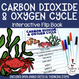 This engaging Carbon Dioxide & Oxygen Cycle Interactive Flip Book is an organized student resource that is load with critical thinking stems and questions which makes students really think. It can be used as a stand alone resource or for interactive notebooks. It can be used for so many things...note taking as a class, review, or even assessments. It is also great as a study tool for class and state assessments.