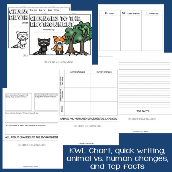 This engaging Changes to the Environment Interactive Flip Book is an organized student resource that is load with critical thinking stems and questions which makes students really think. It can be used as a stand alone resource or for interactive notebooks. It can be used for so many things...note taking as a class, review, or even assessments. It is also great as a study tool for class and state assessments.