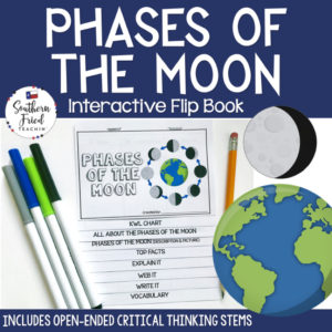 This engaging Phases of the Moon Interactive Flip Book is an organized student resource that is load with critical thinking stems and questions which makes students really think. It can be used as a stand alone resource or for interactive notebooks. It can be used for so many things...note taking as a class, review, or even assessments. It is also great as a study tool for class and state assessments.